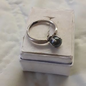 unknown Jewelry - sterling bl. pearl ring